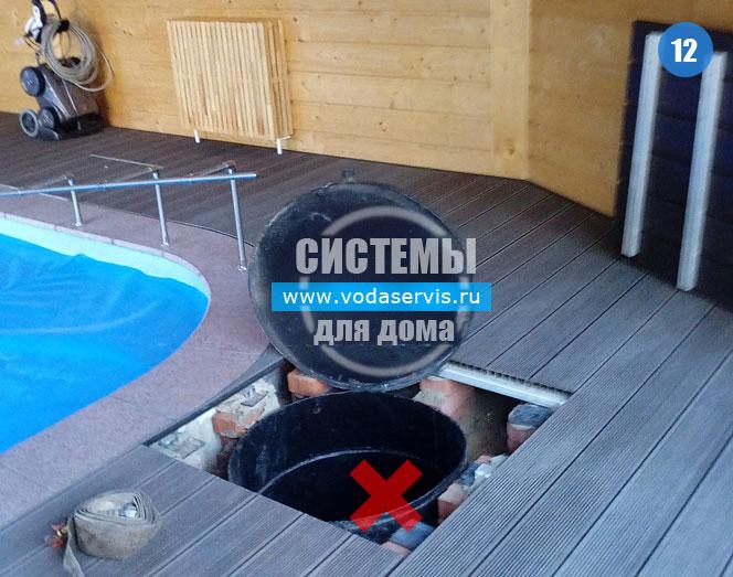 сделали скважину около бассейна в частном доме фотография